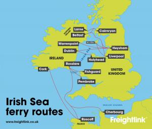 Irish Sea freight ferry routes
