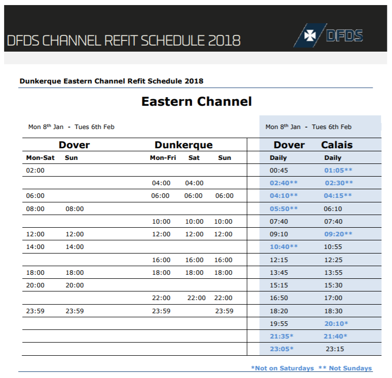 dfds refit schedule dunkerque dover january 2018
