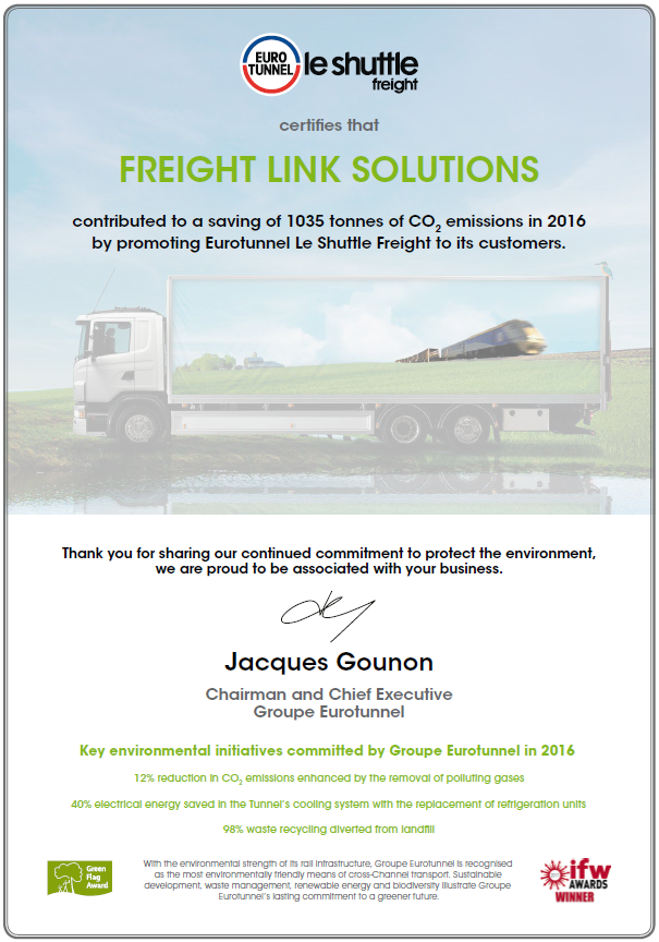 eurotunnel freightlink emission reductions 2016
