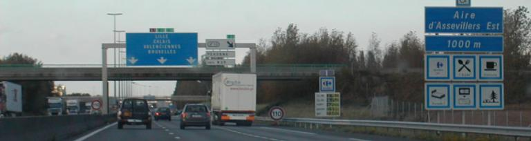 French A1 Main Motorway showing traffic moving